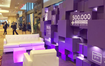 Branded Interior Exhibit design for RetailMeNot at eTail West Conference 2016