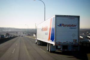 Purolator dry van box-sized trailers transporting nonperishable items