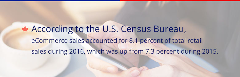 According to the U.S. Census Bureau, eCommerce sales accounted for 8.1 percent of total retail sales during 2016, which was up from 7.3% during 2015.