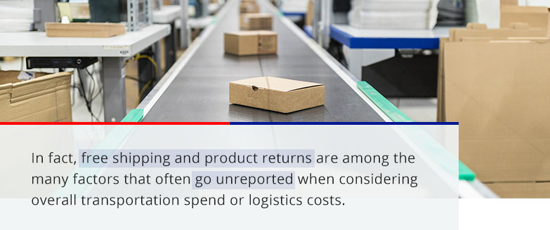 free shipping and product returns are among the many factors that often go unreported when considering overall transportation spend or logistics costs