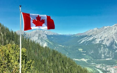 canadian flag in front of mountains and forest region