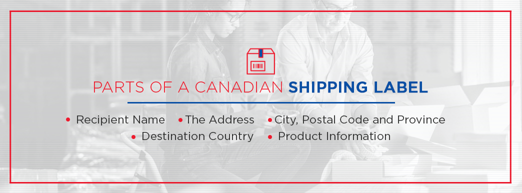 Parts of a Canadian shipping label