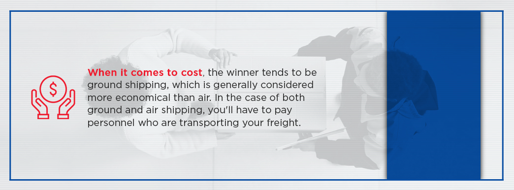 Ground shipping cost is more economical than air shipping