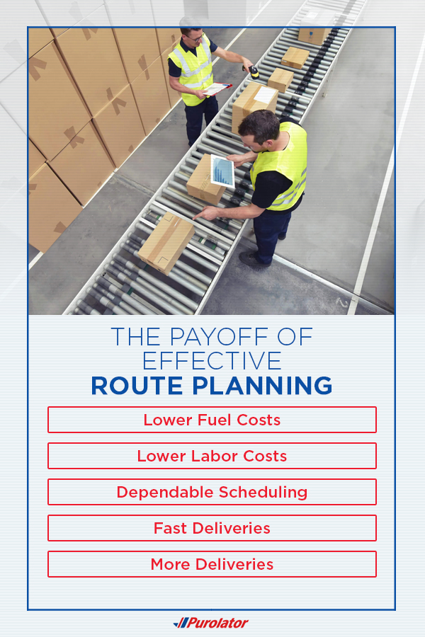 Effective route planning can cause fuel and labor cost savings, more and faster deliveries, and dependable scheduling