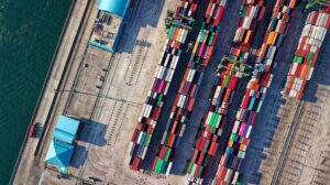 Aerial view of container shipyard and shipping port