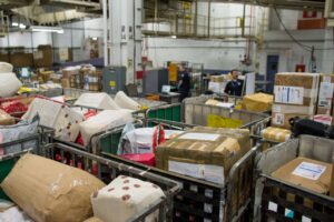 Packages await processing at CBP's mail processing facility located at JFK International Airport