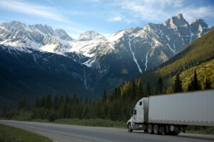 White semi truck shipping goods with the Canadian Rockies in the background