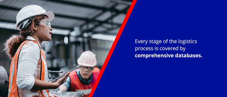 Every stage of the logistics process is covered by comprehensive databases