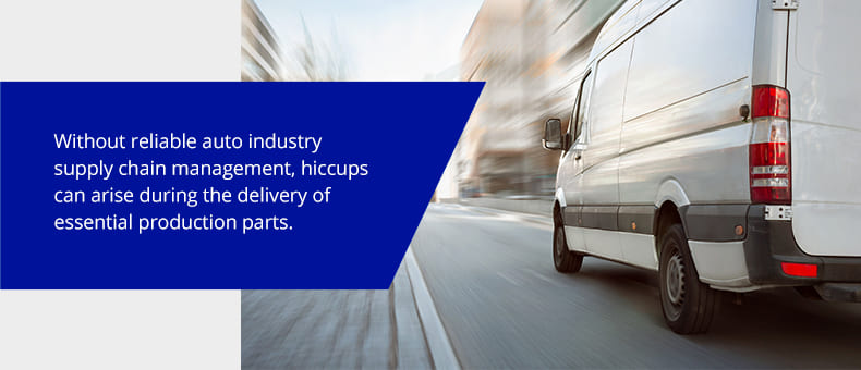 Without reliable auto industry supply chain management, hiccups can arise during the delivery of essential production parts
