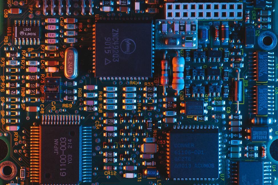 Overhead view of circuitboard